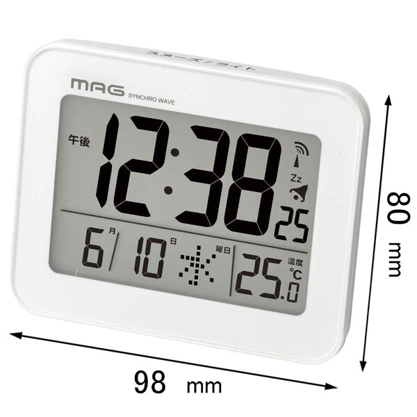 T-761 定価 WH-Z ノア精密 電波目覚まし時計 NOA 返品種別A MAG コードロン T761WHZ 高品質