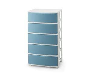 CLN-545ブル- ホワイト アイリスオーヤマ ワイドチェスト 5段 ブルー 国産品 IRIS CLN545ブルホワイト 通信販売