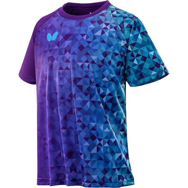 BUT-45840-411-O 70%OFFアウトレット バタフライ 割り引き 卓球用Tシャツ 男女兼用 ネイビー×スカイ BUTTERFLY Tシャツ ルイカラ サイズ:O