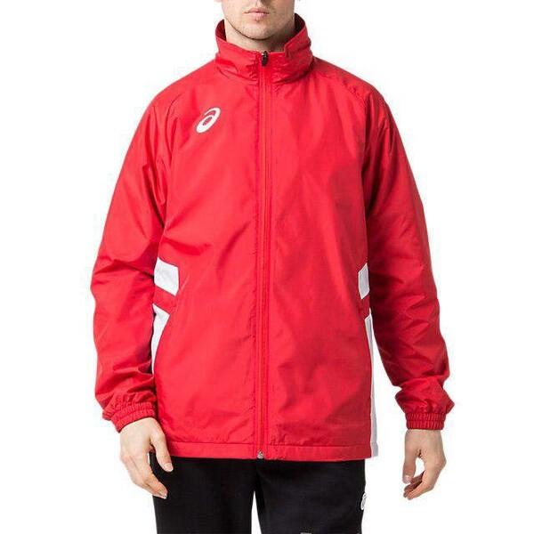 国内在庫 2063A072-600-M アシックス ご予約品 ウオームアップジャケット asics クラシックレッド×ブリリアントホワイト サイズ:M