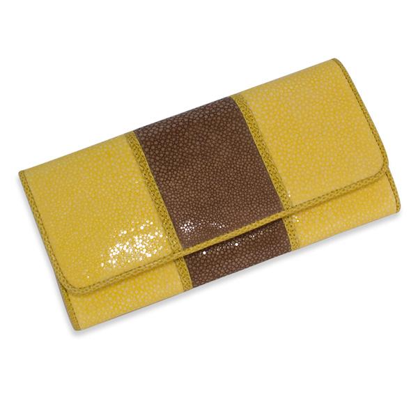 エイ革二重染めウォレット 高級素材を使った長財布/イエロー fs3gm