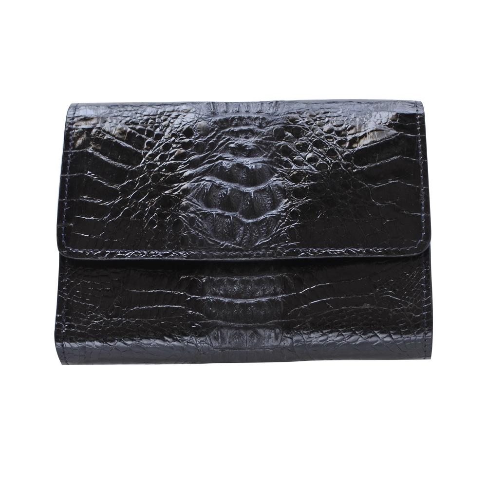 クロコダイル 三つ折財布 黒