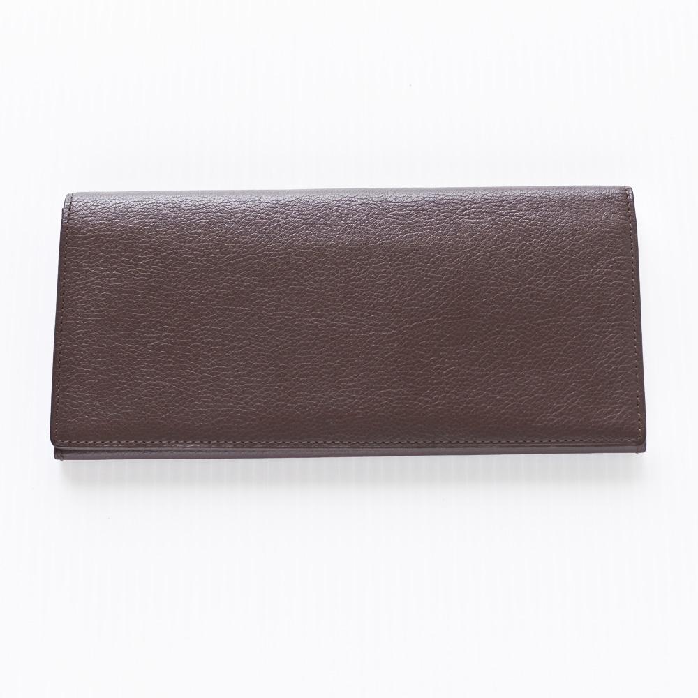 うす型長財布 カーフスキン ダークブラウン