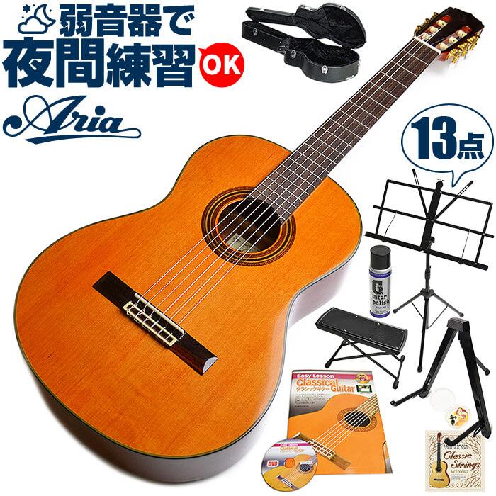 クラシックギター 初心者 セット アリア A-20 (シダー材 単板) Aria アコースティック (13点 入門 セット ハードケース)