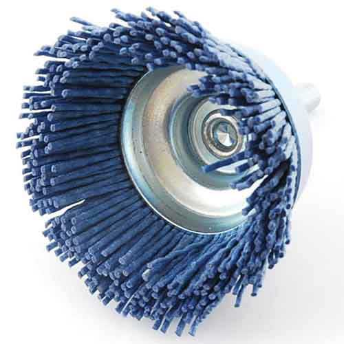 先端工具 ドリルアタッチメントの軸付ワイヤブラシ75MM - 150 鉄のサビ落とし 塗装はがし ストアー 研磨作業に最適です SK11 初売り 代引き不可 75MM-150 六角軸ナイロンブラシ細目