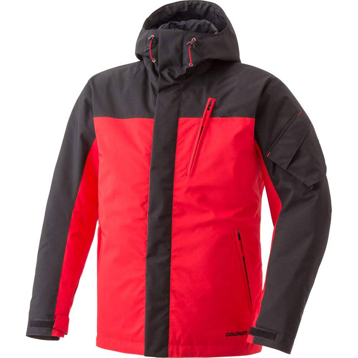 在庫処分 【サイズ交換不可】ゴールドウィン ウインターフーデッドジャケット ブラックxレッド GOLDWIN GSM12556 バイクジャケット 防水生地・透湿・防寒防風・プロテクション装備・リフレクション