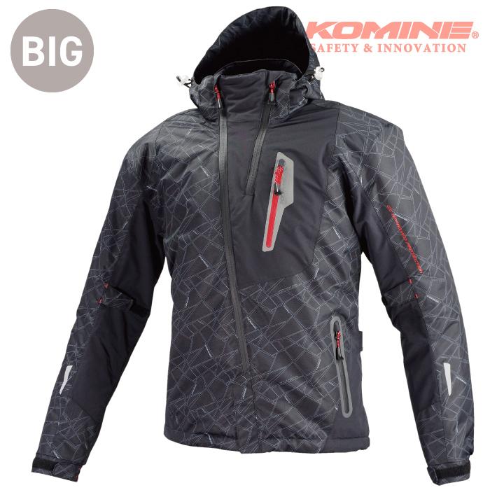 コミネ JK-589 BLACK-5XLB 大きなサイズ プロテクトウインターパーカ 秋冬バイクジャケットCE規格パッド付 KOMINE 07-589 2018年モデル