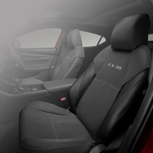 【DM系CX-30】「CX-30」ロゴ入りシートカバー 前席用左右セット 海外仕様純正アクセサリー