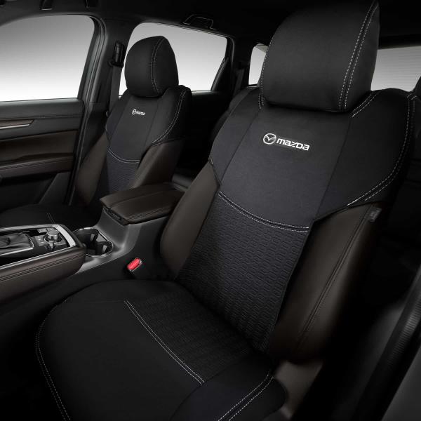 【KG系CX-8】「MaZDa」ロゴ入りシートカバー 前席用左右セット 海外仕様純正アクセサリー