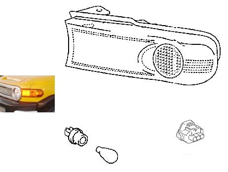 【10系FJクルーザー】輸出仕様純正サイドマーカーランプフロント用左右セット