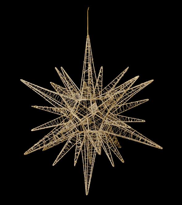 【クリスマス・装飾・オーナメント・デコレーション・スター】60cmワイヤースパイクスター(グリッター)ゴールド