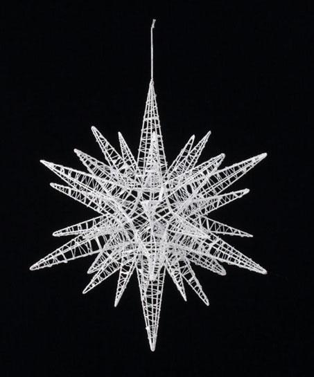 【クリスマス・装飾・オーナメント・デコレーション・スター】45cmワイヤースパイクスター(グリッター)ホワイト