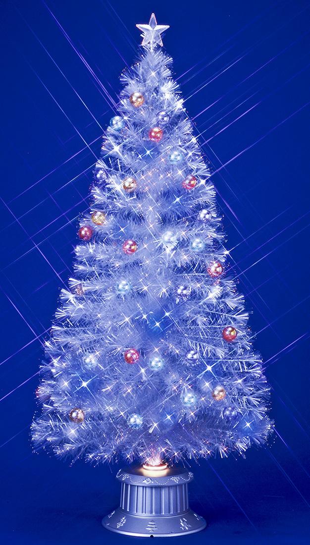 【ファイバーツリー】180cmファンタジーホワイト&ブルーLEDホワイトギャザーチップファイバーツリー