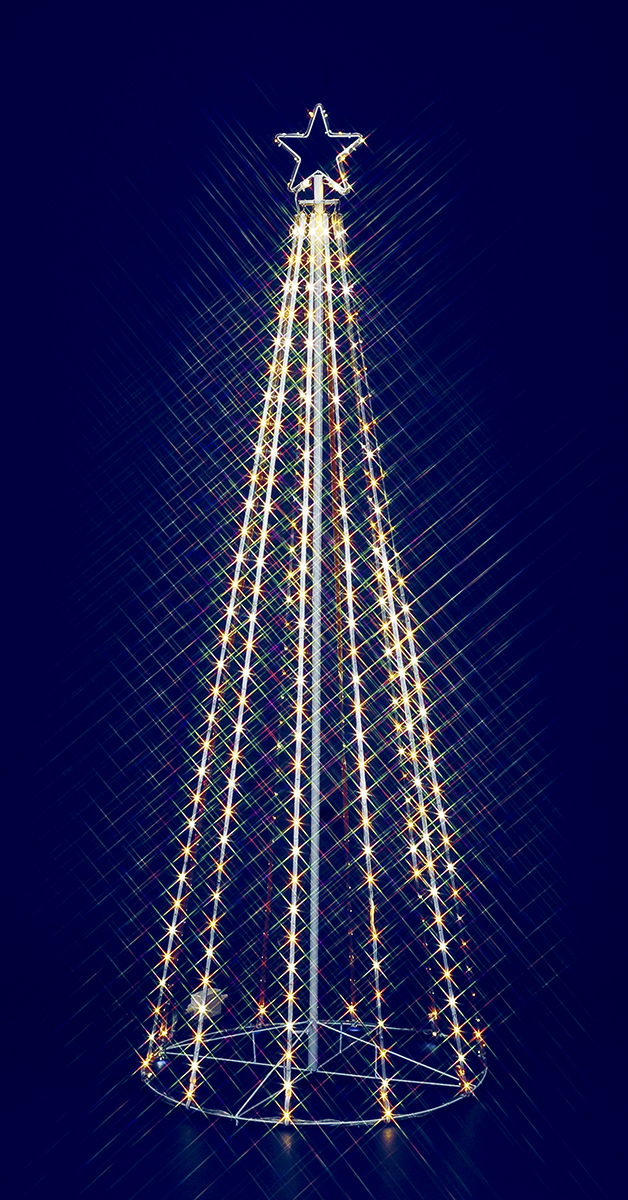 【イルミネーション】180cmゴールドホワイトLEDテープライトタワー