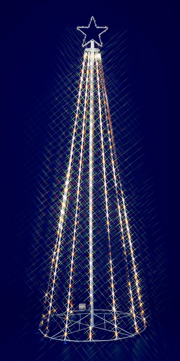 【イルミネーション】210cmゴールドホワイトLEDテープライトタワー