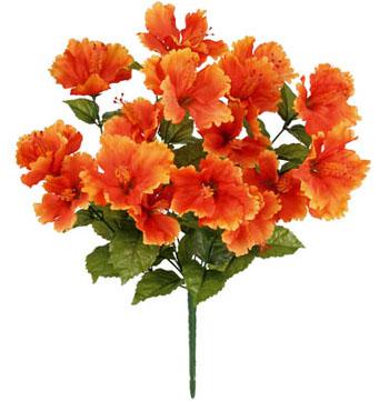 造花 国内送料無料 夏の造花 お買い得品 ハイビスカス オレンジ トロピカルハイビスカスブッシュ