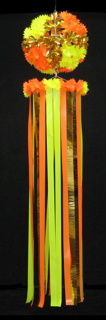 【七夕飾り・装飾・ジャンボサイズ吹き流し】全長:210cm 50cm玉付・吹流し・ゴールドクロス・J・オレンジ 2ケセット