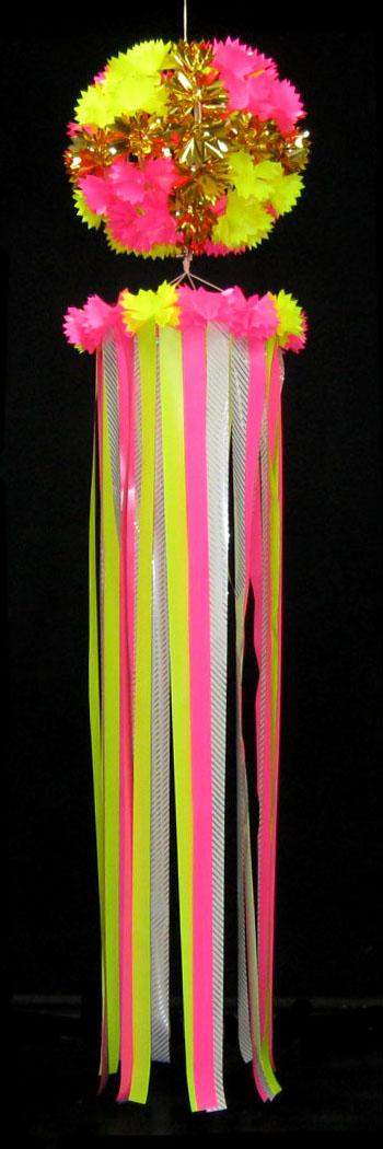 【七夕飾り・装飾・ジャンボサイズ吹き流し】全長:210cm 50cm玉付・吹流し・ゴールドクロス・J・ピンク 2ケセット