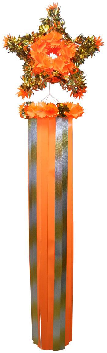 【七夕飾り・装飾・ジャンボサイズ吹き流し】全長:220cm 新スター・吹流し(J2601)・オレンジ2個セット