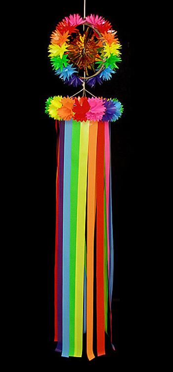 【七夕飾り・装飾・大サイズ吹き流し】全長:190cm サンシャイン・吹流し・L・レインボー  2ケセット
