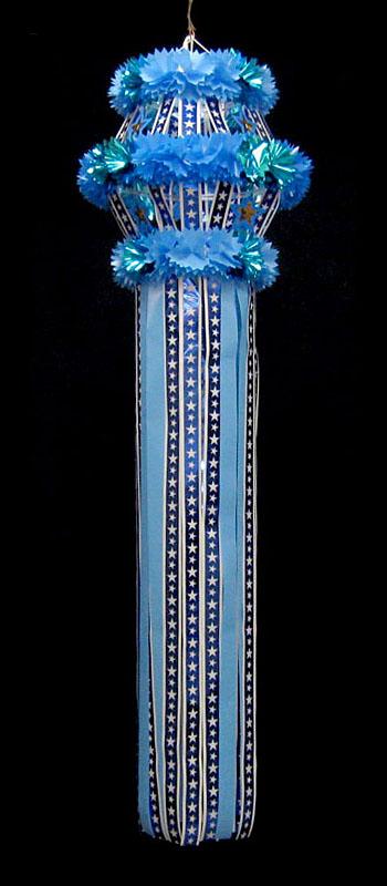 【七夕飾り・装飾・大サイズ吹き流し】全長:180cm ニュースター・カプセル・吹流し・L・ブルー 2ケセット