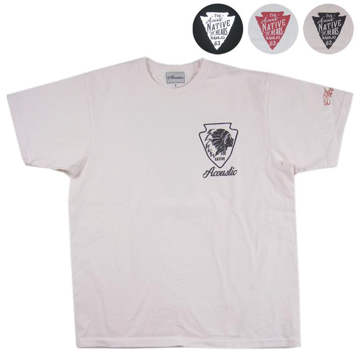 売り込み 長く愛用できる 丈夫な生地感が人気のAcoustic半袖Tシャツ メンズ トップス 半袖Tシャツ クルーネック NATIVE お気に入 ネコポス AC9209 Acoustic アコースティック
