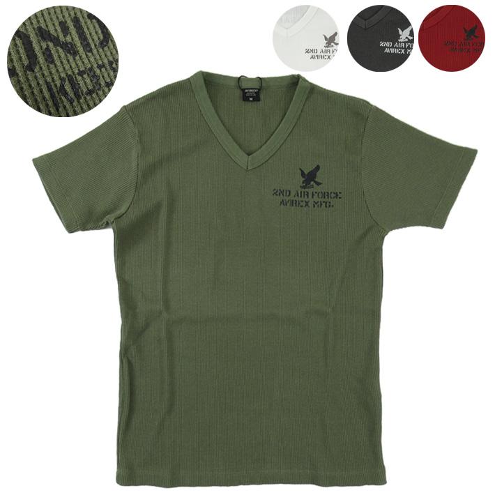 アヴィレックス 半袖VネックワッフルTシャツ S 2nd AF MINI アビレックス 6113288 TEE 在庫処分 WAFFLE 新作製品、世界最高品質人気! AVIREX