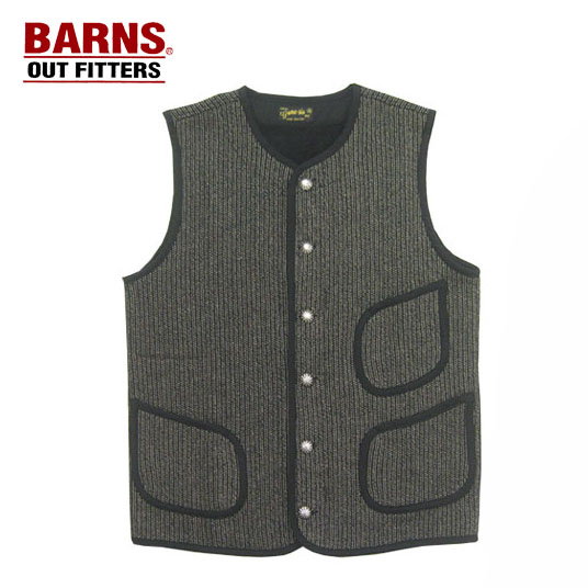 BARNS バーンズ ゴマ塩ニット ビーチクロス ワークベスト BEACH CLOTH WORK VEST BR-7282