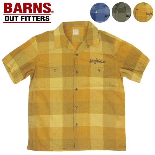 BARNS バーンズ オープンカラーチェックシャツ BR-7523