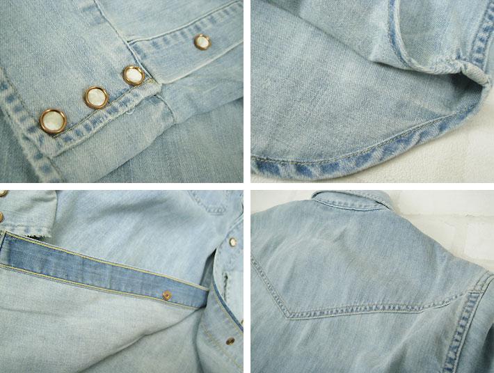 "LEVI'S VINTAGE CLOTHING 1950s denimuuesutanshatsuraitoyuzudo 67702-0003""男子的/顶端/长袖子/长袖子衬衫/粗斜纹布地"""
