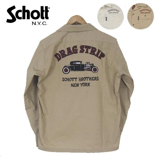 Schott 刺繍 長袖ワークシャツ TC WORK SHIRT DRAG STRIPE 3175003