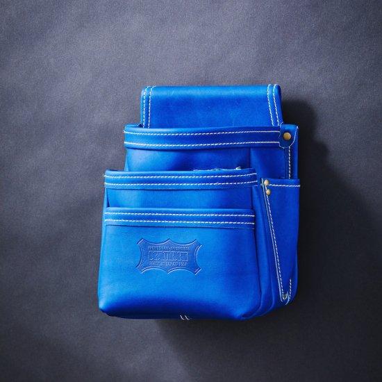 【受注生産品】【送料無料】【代金引換不可】【後払い不可】 KNICKS・ニックス 最高級硬式グローブ革3段腰袋 ブルー KGBL-301DD