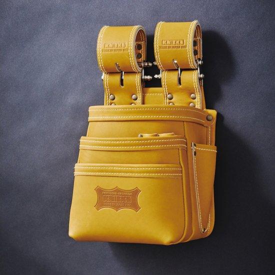 【送料無料】【代金引換不可】【後払い不可】KNICKS・ニックス 最高級硬式グローブ革チェーンタイプ3段腰袋 キャメル KGC-301DDX