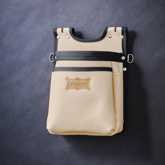 【送料無料】【代金引換不可】【後払い不可】KNICKS・ニックス ヌメ革建築用2段腰袋 バリスティック縁巻 KNS-201BA