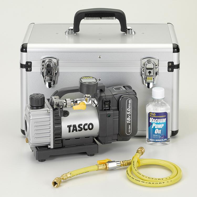 【送料無料】 TASCO・イチネンタスコ ルームエアコン専用 省電力型 ウルトラミニ充電式真空ポンプ デジタル真空ゲージ付キット TA150ZP-K