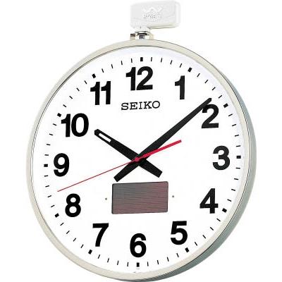 【送料無料】SEIKOソーラー屋外用大型電波掛時計 527×450×78 金属枠SF211S【3642011】