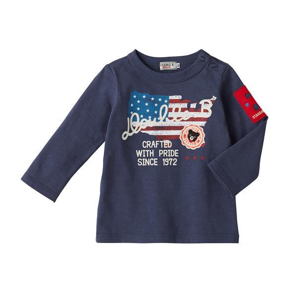 【秋冬アウトレットセール】ミキハウス ダブルB(DOUBLE.B) アメリカンプリント長袖Tシャツ(110cm、120cm、130cm)