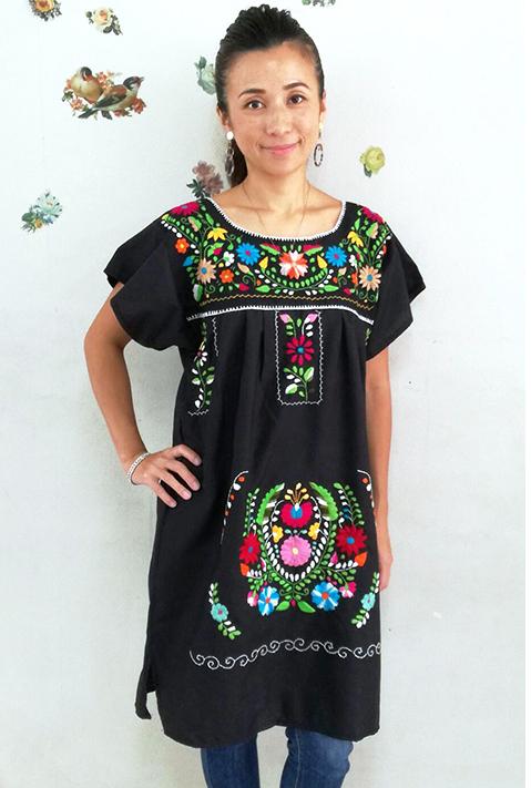 ワンピース・ロング・刺繍 メキシコ刺繍 メキシカンフォークロア ブラック・小花柄ギフト ラッピング対応可