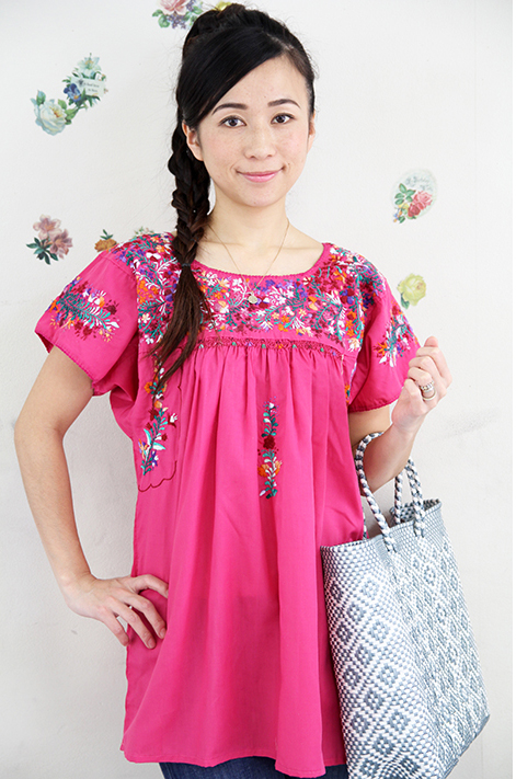joli-panier  !! Mexico embroidered tunic pink