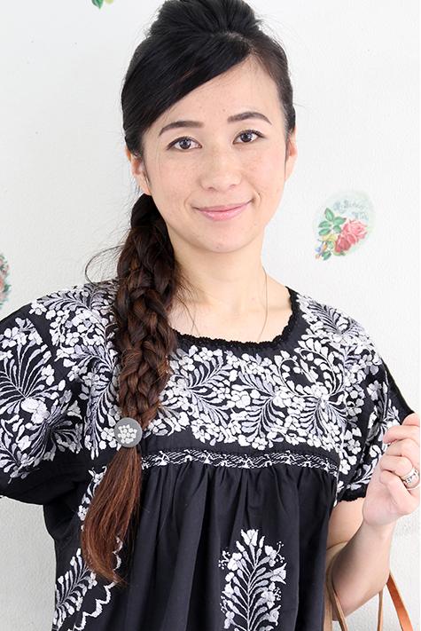 チュニック 刺繍 小花 フラワー メキシコ刺繍チュニックサンアントニーノ刺繍・かぎ編み ブラックギフト ラッピング 結婚祝い 送料無料