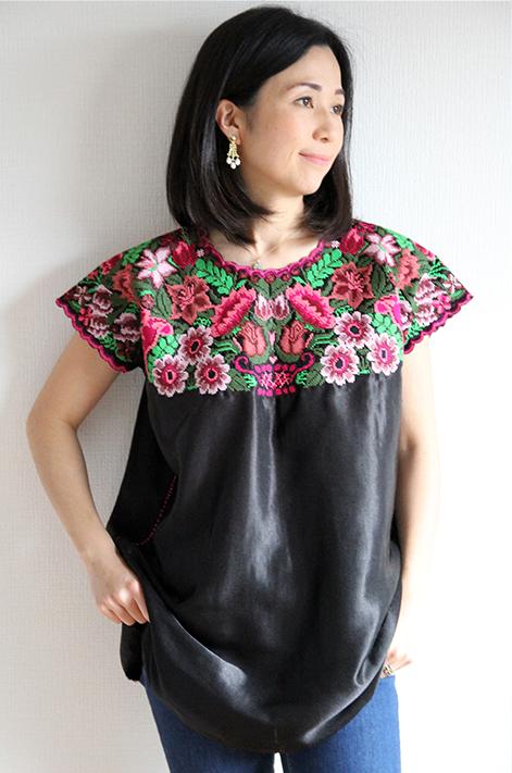 チュニック 刺繍 ウィピル メキシコ刺繍ブラウス ハンドメイド・フラワー・パープル ギフト ラッピング 母の日