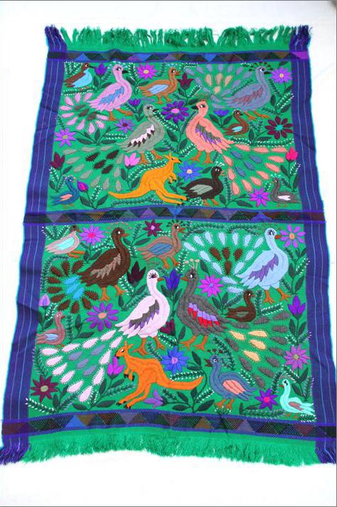メキシコ刺繍タペストリー/大sizeテーブルクロス/グリーン【ギフト・ラッピング対応可】