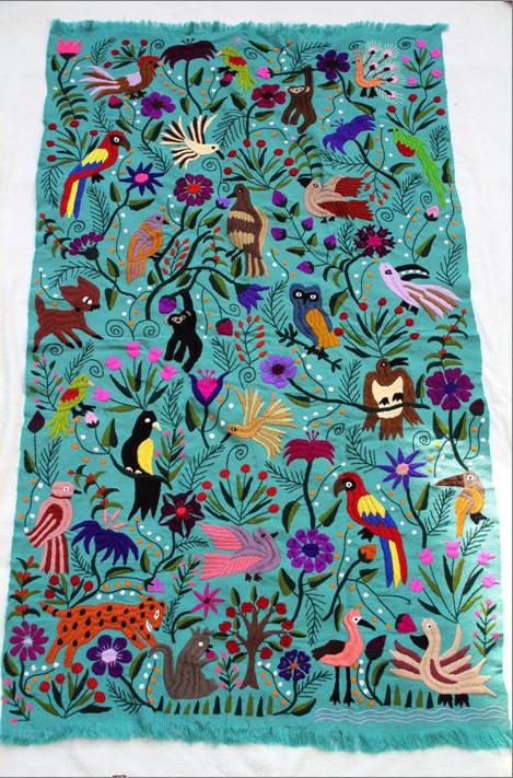 メキシコ刺繍タペストリー/大sizeテーブルクロス/グリーン【ギフト・ラッピング対応可】【結婚祝い】【新築祝い】