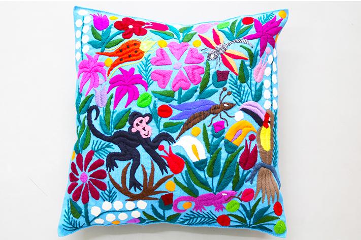 Joli Panier Cushion Cushion Cover Embroidery Mexico Animal Blue Is
