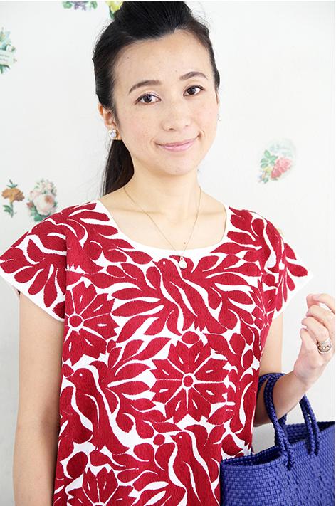 ワンピース・ロング・刺繍・メキシコ刺繍ワンピースレッド刺繍・トゥクステペック送料無料ギフト・ラッピング対応可