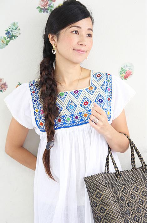 ワンピース・レディース・刺繍・エスニック・小花柄・ロング メキシコ刺繍ララインサール・織物・カラフルギフト ラッピング対応可