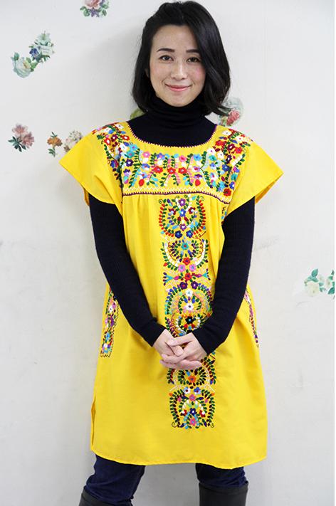 ワンピース・ロング・刺繍 メキシコ刺繍 メキシカンフォークロア イエロー・小花柄ギフト ラッピング対応可