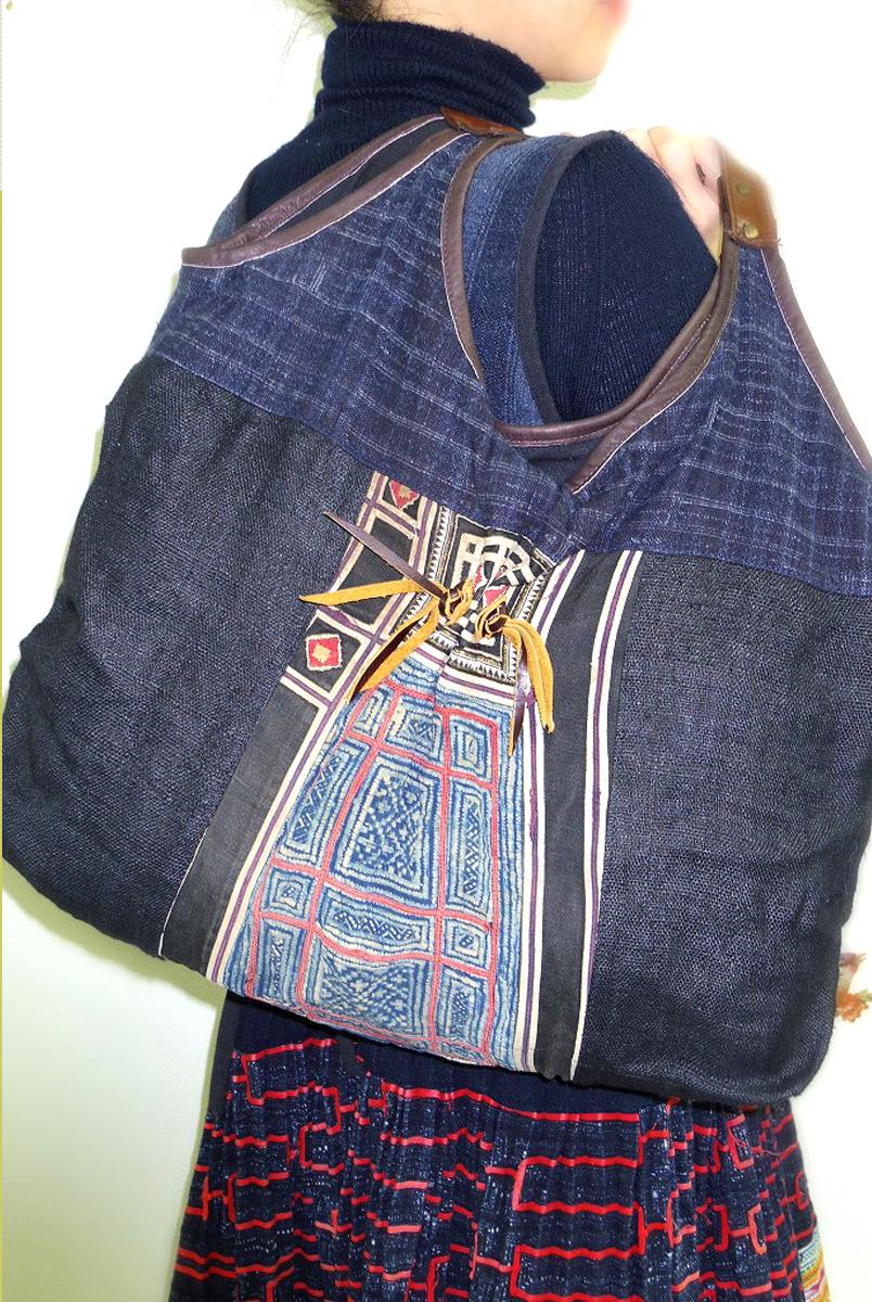 モン族刺繍ショルダーバック藍染・刺繍/アンティーク/ネイビー【ギフト】【ラッピング】