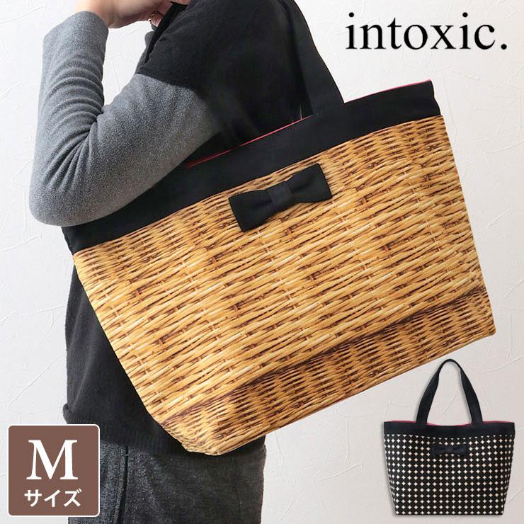 INTOXIC イントキシック バッグ ベーシック トート フェイクバスケット HD-023 | A4 トートバッグ プリント リボン おしゃれ かわいい レディース インスタグラム instagram プレゼント 新品