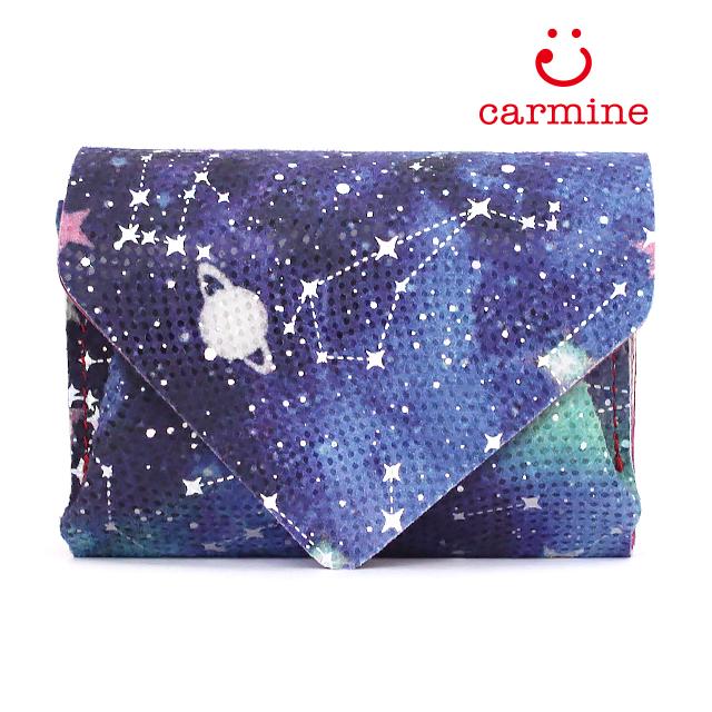 carmine カーマイン 【財布】コンパクトウォレットスーパースターリー   ミニ財布 折財布 ちい財布 星空 レディース 可愛い 小さい 国産 東京 プレゼント